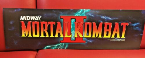 Original 1993 MORTAL KOMBAT 2  Marquee Coin Op Video Arcade NOT A REPRODUCTION!