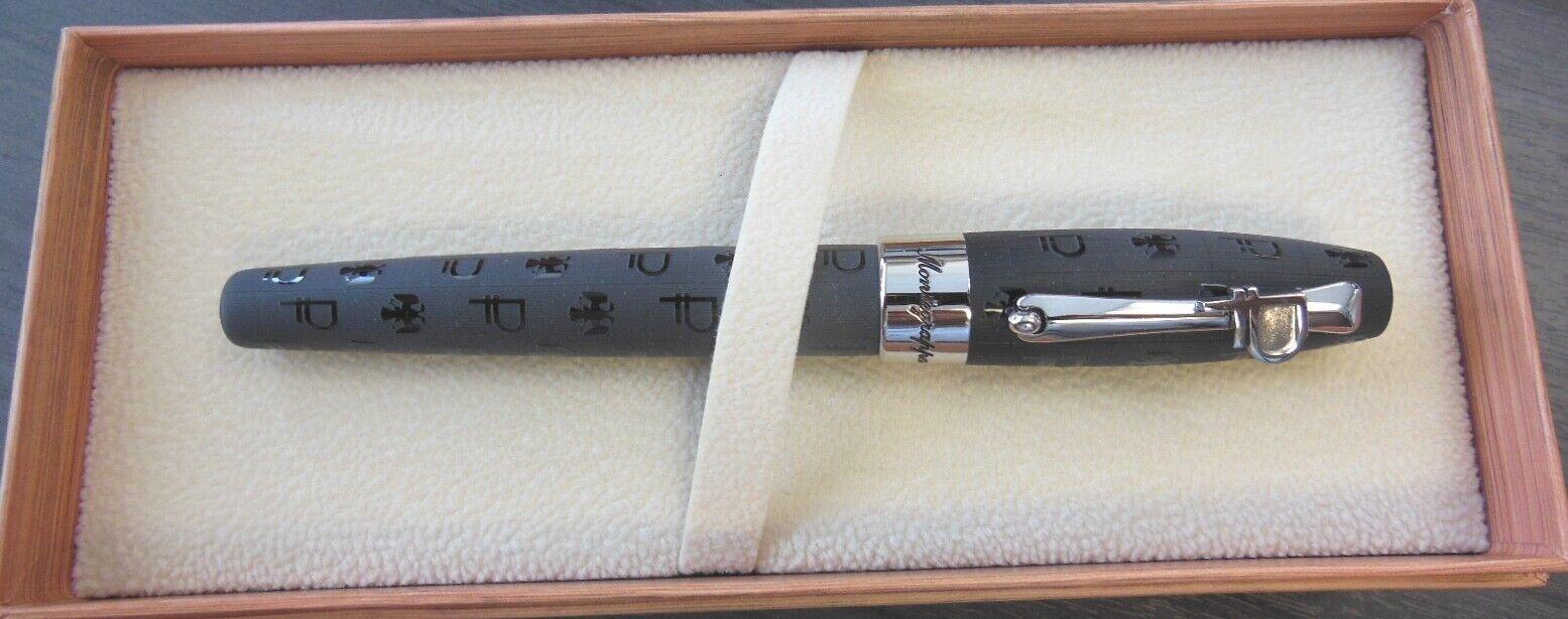 Montegrappa Ruble Fortuna Rollerball Pen, Black & Palladium, Brand New, $560 Collectibles