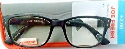Joe Fresh Calgary Black 2.00 Reading Glasses W/Soft Case. FREE (Glasses Calgary)