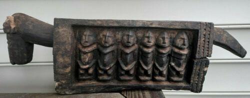 VTG African Carved Wood Tribal Dog Animal Planter? Bin Carved Figures & Patterns