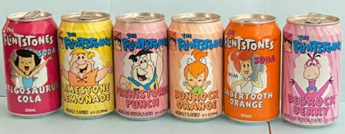 The FLINTSTONES Collectible AUTHENTIC SODA CANS (LOT QTY. of 6 different) 90