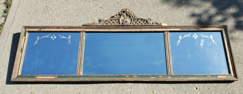 Antique Gold Polychrome Floral Etched Gesso 3 Panel Buffet Mantle Wall Mirror