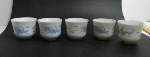 ZEN2 CHINESE DOUBLE INSULATED PORCELAIN DRAGON PHOENIX CUPS, set of 5