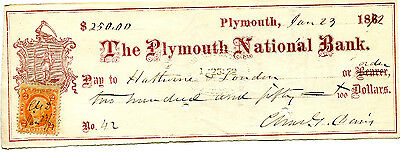 1872 PLYMOUTH NATIONAL BANK  CHECK WITH TAX STAMP CHARLES G DAVIS PLYMOUTH MA