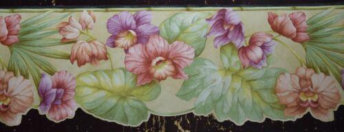 Wallpaper Border Dado Frieze Tropical Floral, Flower & Leaf Laser Cut edge Black