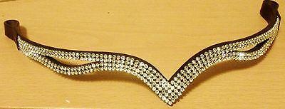 """New Designer Ve Clear Crystal Browband PONY Size -14"""" (BROWN) * Great gift SALE"""