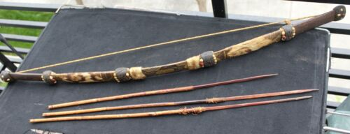Antique Jivaro Amazon Indian bow and 3 arrows w/ beads, snakeskin and jaguar fur