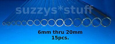 15pcs. Pyrex Glassblowing Tubes Sample Set - 6mm Thru 20mm X 10in. - Smooth Ends