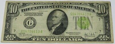 1928-C $10 Ten Dollars Federal Reserve Note, Light Green