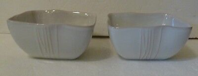 """PIER 1 SAKUI PATTERN SET OF TWO CEREAL SOUP BOWLS 6.25"""" SQUARE CREAM TAN LINES"""