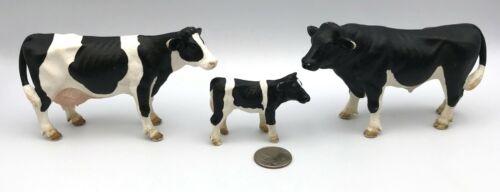 Schleich HOLSTEIN FAMILY Cow Bull Calf Figures Black & White 2000 Retired