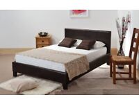LEATHER BED DOUBLE / KING BLACK-BROWN-WHITE WITH MEMORY FOAM-ORTHOPAEDIC MATTRESS