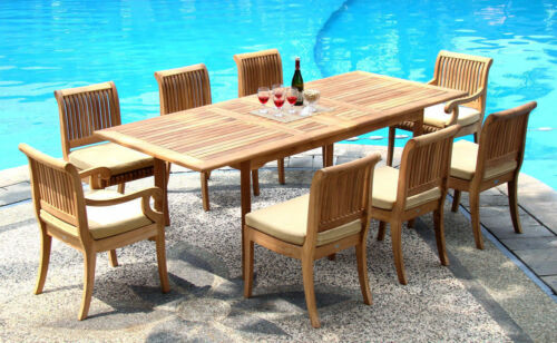 "Giva A-grade Teak 9 Pc Dining 94"" Rectangle Table Chair Set Outdoor Patio New"