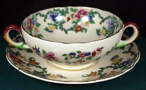 Royal Cauldon Victoria Soup Coupes & Saucers (Back Stamp 1)