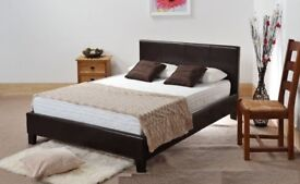 🔲🔲DOUBLE Fabulous Modern Designer Italian Faux Leather BED WITH DEEP QUILTED MATTRESS