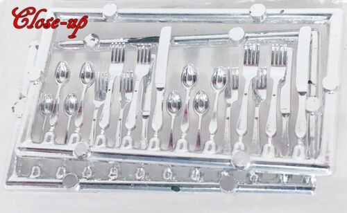 SET of 20 MINIATURE FORMAL DINING SILVERWARE DOLLHOUSE 4-KNIVES 8-FORKS 8-SPOONS