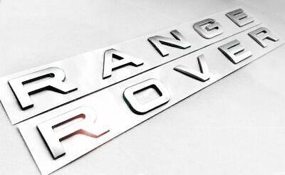 RANGE ROVER OEM Genuine Emblem Chrome Silver Letters Badge Logo Front Rear Hood