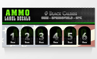 Home Decor Table Runner SPRINGFIELD XD /XDM 9MM Black Caliber Numbered Magazine Base Decal 6 PK