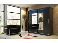 SPECIAL OFFER! Wardrobe kola 06-180 black with sliding doors mirror