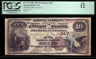 10 1822 Bb The First National Bank Of Lacon  Illinois Pcgs 12 Tough Brown Back