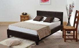'' CLEARANCE STOCK'' -- Double Leather Bed Frame With Mattress -- Order Now