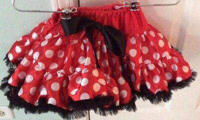 Girls Bouffant Red White And Black Minnie Mouse Tutu Size 2 NWOT (Red And Black Minnie Mouse Tutu)