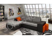 BRAND NEW ATLANTIS LEATHER&FABRIC CORNER SOFABED WITH STORAGE IN BLACK/GREY OR WHITE/GREY (FREE DEL)