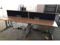 4 positions workstation office desk Techo with divider