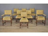 Attractive Set Of 8 Eight Vintage Carved Oak Dining Kitchen Chairs, With Carvers