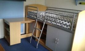 Mid Sleeper Bed with Pull Out Desk & Storage