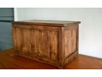 Solid pine slatted rustic chest