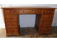 Solid pine pedestal writing desk