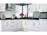 'Brand New' white gloss slab kitchen £1195. Complete with appliances and work top.