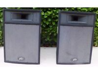 2 Peavey Messenger Pro-15 / PRO 15 PA Speakers with Skytec high quality lined cases