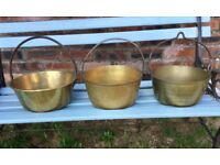 3 ANTIQUE VINTAGE BRASS JAM POTS, COOKING POTS, COPPER , FOOD DISPLAY KITCHEN DECORATION