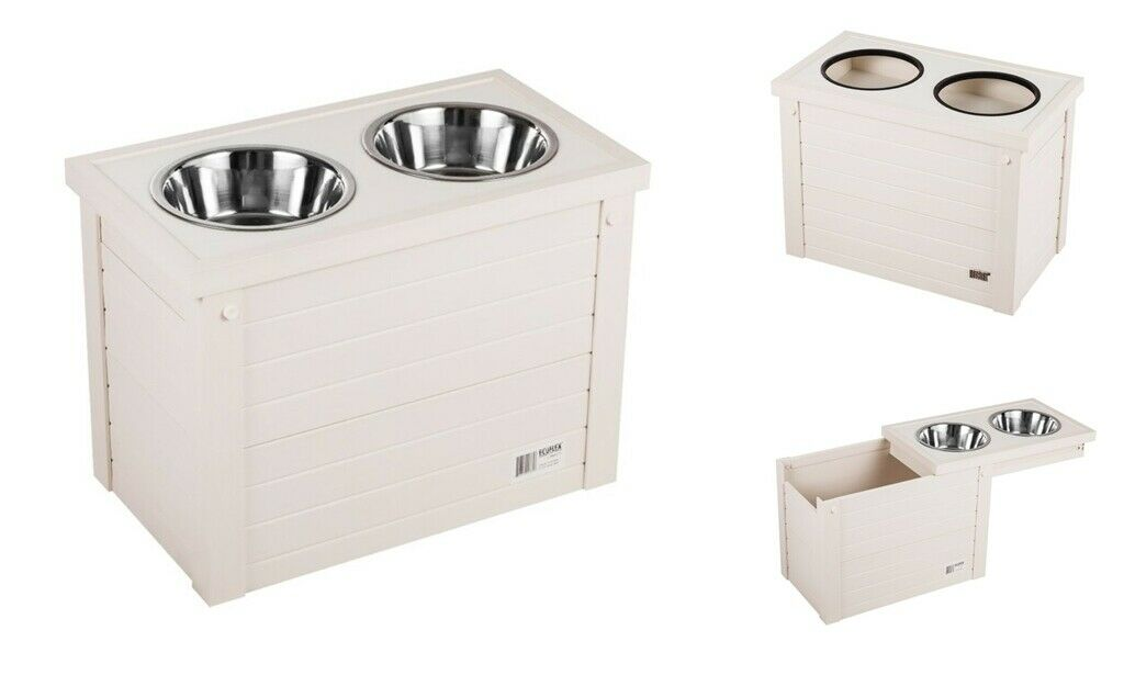 Elevated Dog Feeder Wood Raised Pet Food Water Double Bowl Storage Dish Stand