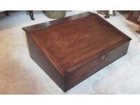 antique oak writing slope chest box