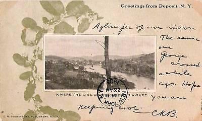 Postcard Deposit New York Erie Crosses Delaware 1905 Broome (Cross County New York)