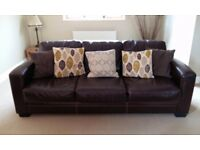 Sofa 2 and 3 seater brown leather free to collector