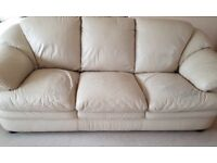2 x Cream Leather Sofas (3 seater and 2 seater) Some wear/rips on seats as highlighted in pics