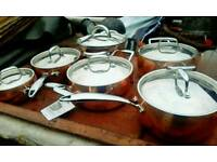 Copper 3 ply saucepan set