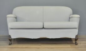 Attractive Sturdy Antique Ball & Claw Leg Two Seat Upholstered Sofa Couch Settee