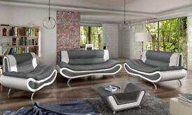 NAPOLI LEATHER 3+2 SEATER SOFA COFFEE TABLE ARMCHAIR WHITE GREY