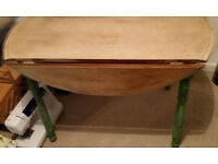 Shabby Chic Annie Sloan Drop Leaf Dining Room Table / Craft Table