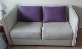 2 seater Sette. Biege with Purple Back & Sides