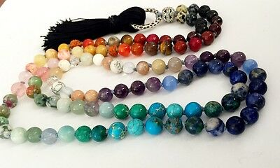 108 Bead Knotted 7 Chakra Mala Necklace or Wrap Bracelet~Balancing ~ yoga