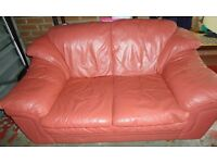 2 seater terracotta leather couch