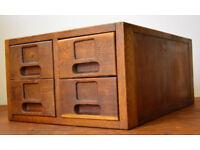 1940s oak four draw cabinet card index holder desk drawer industrial antique vintage haberdashery