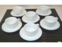 Waitrose (John Lewis) Cappuccino Cups & Saucers - Set of 6