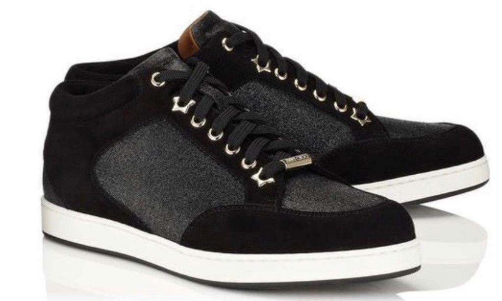 35777dbcb26f Jimmy Choo Miami Black Fine Glitter and Suede Sneakers